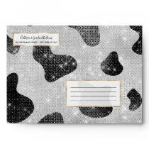 Glamorous Black Sparkly Glitter Sequins Cow Print Envelope