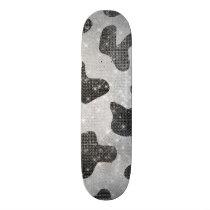 Glamorous Black Sparkly Glitter Sequins Cow Print Skateboard