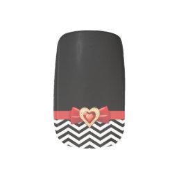 Glamorous black white chevron pattern minx nail wraps