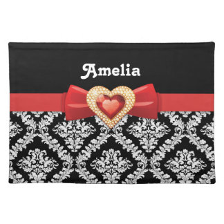 Glamorous Black white damask & red bow and jewel Cloth Placemat