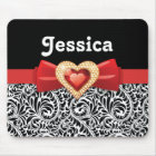 Glamorous Black white damask & red bow and jewel Mouse Pad