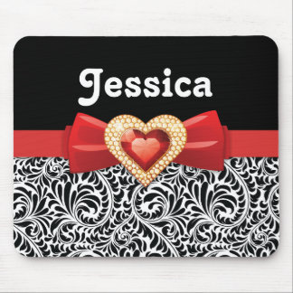 Glamorous Black white damask red bow and jewel Mouse Pads