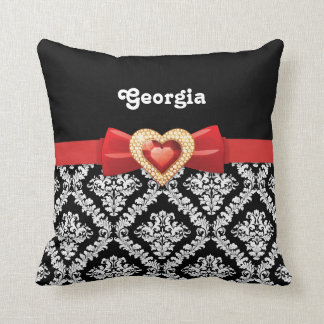 Glamorous Black white damask & red bow and jewel Pillow