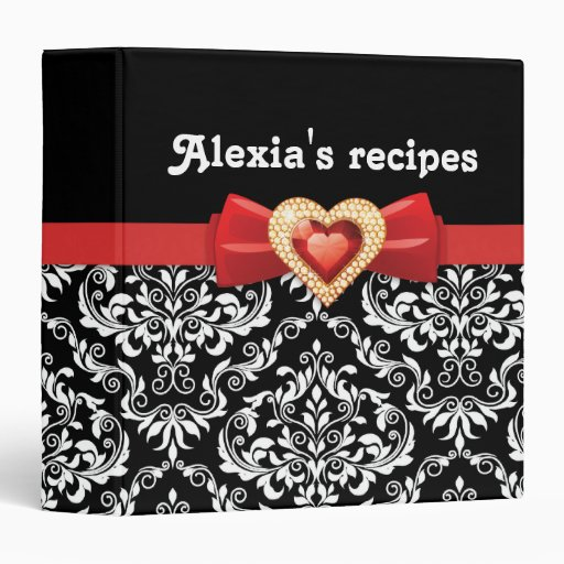 Glamorous black white damask with red bow & jewel binders
