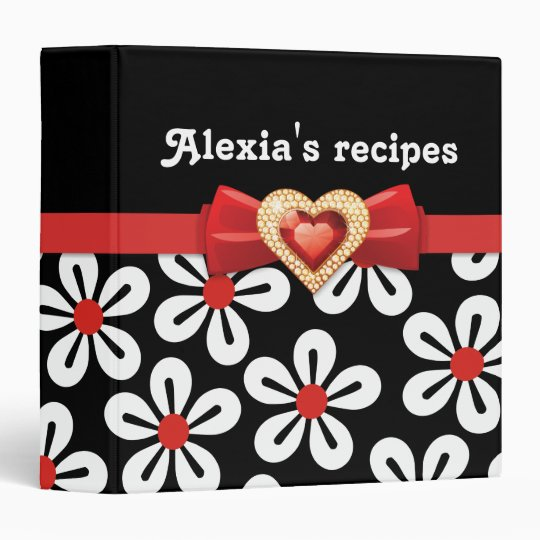 Glamorous black white floral with red bow & jewel binder
