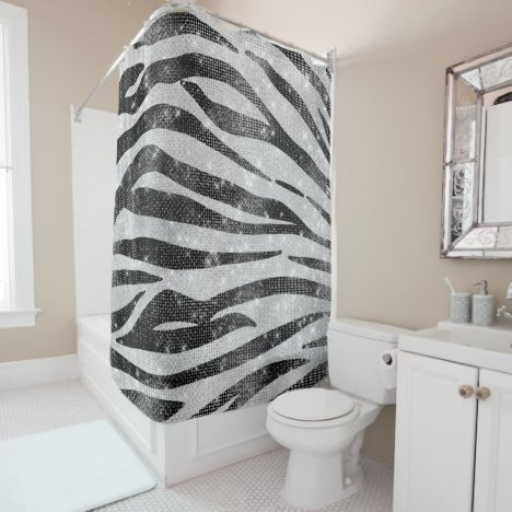 Glamorous Black White Sparkly Glitter Zebra Stripe Shower Curtain