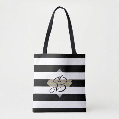 Glamorous Black White Stripe MONOGRAM Tote Bag