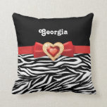 Glamorous Black white zebra print, red bow & jewel Throw Pillows