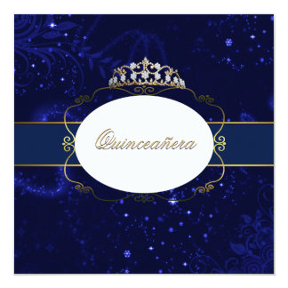 Glamorous Blue and Gold Quinceañera Invitation