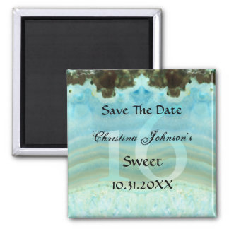 Glamorous Blue Crystal Sweet 16 Save The Date Magnet