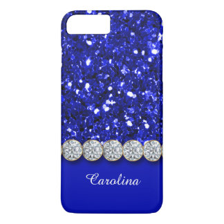 Glamorous Blue Glitter And Sparkly Diamonds Case