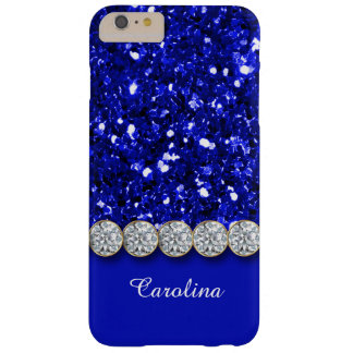 Glamorous Blue Glitter And Sparkly Diamonds Case Barely There iPhone 6 Plus Case
