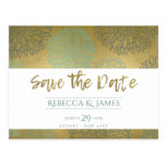 GLAMOROUS BLUE & GOLD DAHLIA PATTERN SAVE THE DATE POSTCARD