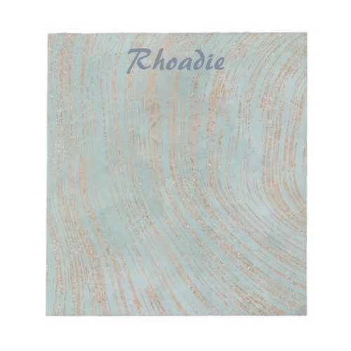 Glamorous Blue Marble and Copper Notepad