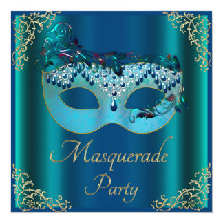 Glamorous Blue Mask Masquerade Party Card