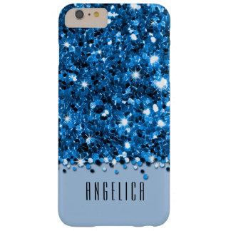 Glamorous Blue Sparkly Glitter Confetti Case Barely There iPhone 6 Plus Case