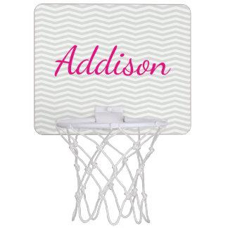 Glamorous Bold Script Name with Gray Chevron Mini Basketball Backboard