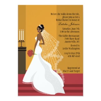 Glamorous Bride African-American Bridal Shower Inv Card