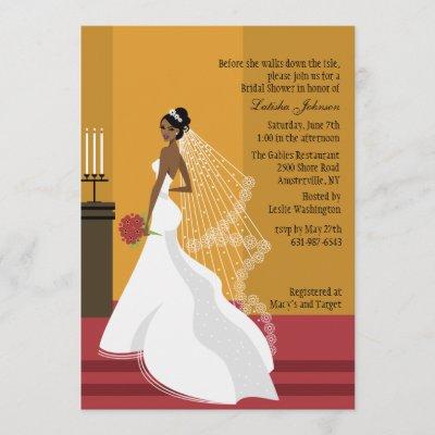 Glamorous Bride African-American Bridal Shower Inv Invitation