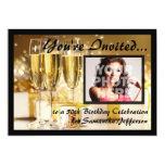 Glamorous Bubbly Photo 50th Birthday Invitations