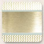 Glamorous chevron gold coasters