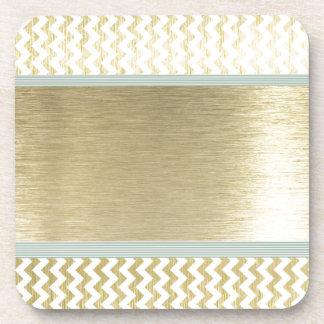 Glamorous chevron gold drink coaster