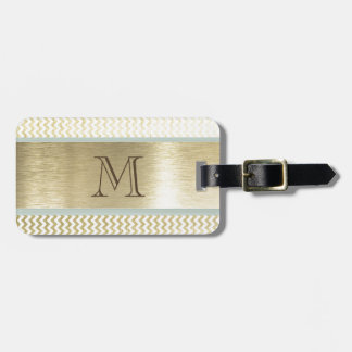 Glamorous chevron gold monogram luggage tag