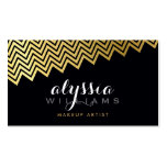 GLAMOROUS chevron pattern shiny gold foil black Double-Sided Standard Business Cards (Pack Of 100)