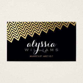 GLAMOROUS chevron pattern shiny gold foil black Business Card