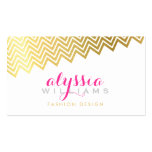 GLAMOROUS chevron pattern stylish shiny gold foil Double-Sided Standard Business Cards (Pack Of 100)