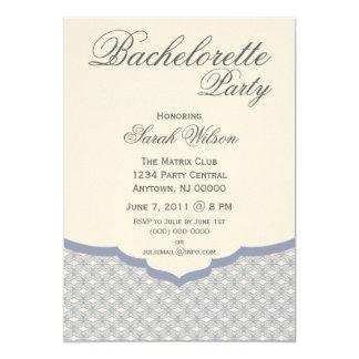 "Glamorous Chic Bachelorette Party Invite, Blue 5"" X 7"" Invitation Card"