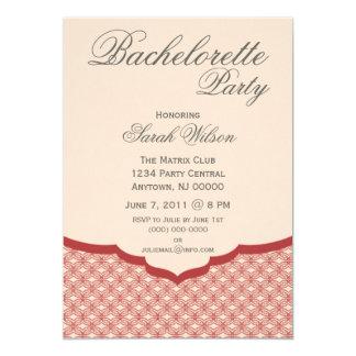 "Glamorous Chic Bachelorette Party Invite, Dark Red 5"" X 7"" Invitation Card"