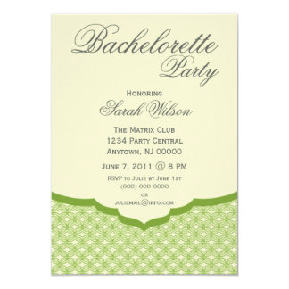 "Glamorous Chic Bachelorette Party Invite, Green 5"" X 7"" Invitation Card"