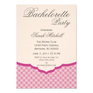 "Glamorous Chic Bachelorette Party Invite, Pink 5"" X 7"" Invitation Card"