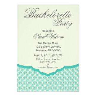 "Glamorous Chic Bachelorette Party Invite Turquoise 5"" X 7"" Invitation Card"