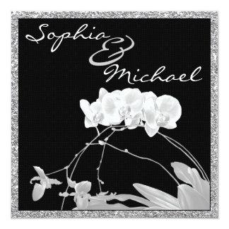 Glamorous Chic White Orchid WEDDING Invitation