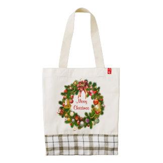 Glamorous Christmas Wreath Zazzle HEART Tote Bag