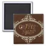 glamorous Coffee Shop 2 Inch Square Magnet