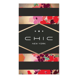 Glamorous Colorful Gold Floral Striped Business Card