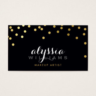 GLAMOROUS confetti shiny gold foil bold black Business Card