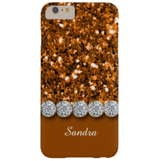 Glamorous Copper Glitter And Sparkly Diamonds Case Barely There iPhone 6 Plus Case