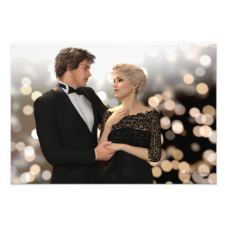 Glamorous Couple with Twinkling Bokeh Photo Print