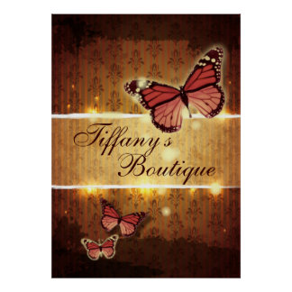 Glamorous Damask ButterFly Fashion Business Poster