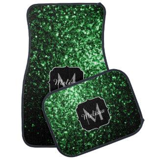 Glamorous Dark Green glitter sparkles Monogram Car Floor Mat