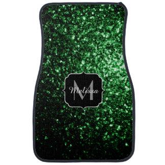 Glamorous Dark Green glitter sparkles Monogram Car Mat