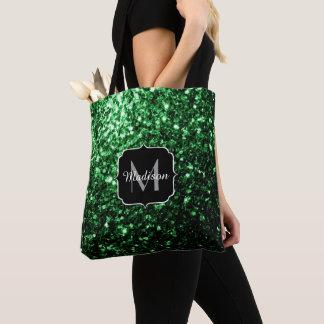 Glamorous Dark Green glitter sparkles Monogram Tote Bag