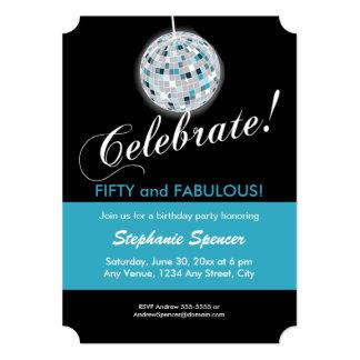 Glamorous Disco Ball 50th Birthday Party Card