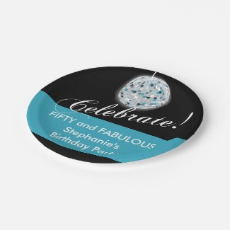 Glamorous Disco Ball 50th Birthday Party Paper Plate