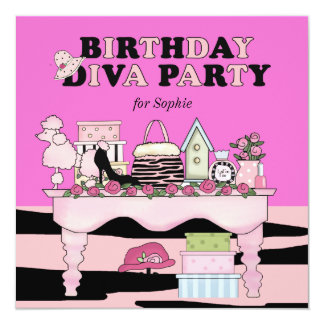 Glamorous Diva Birthday Party Invitation