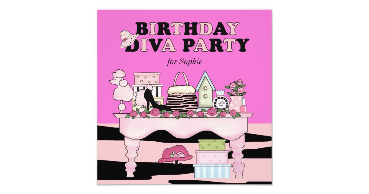 Diva Wedding Invitatio: Glamorous Diva Birthday Party Invitation